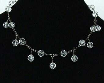 SALE vintage deco 1930s rock crystal & sterling necklace