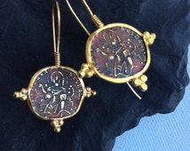 Roman Coin Earring antique ancient roman coin replica inspired sterling