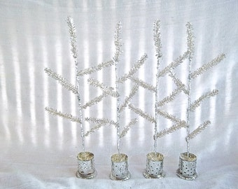 Repurposed Handmade Vintage Silver Tinsel Table Top Faux Feather Punched Tin Sisal Tree Set