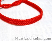 Bright Red solid color knotted friendship bracelet ~ Made to Order