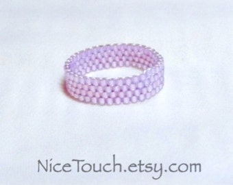 SUMMER SALE!!! Free Shipping or Save 20% ~ Silver Orchid woven beaded glass ring ~ Made to Order
