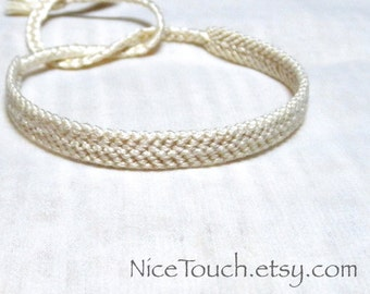 SUMMER SALE!!! Free Shipping or Save 20% ~ Perfectly Pearl solid color knotted friendship bracelet ~ Made to Order