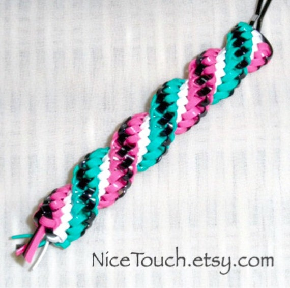 SUMMER SALE!!! Free Shipping or Save 20% ~ Poodle Skirt aqua, pink, white, and black woven gimp keychain ~ Made to Order