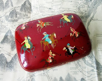 Vintage Kashmir Lacquer Box Trinket Box Hand Painted Polo Players Large