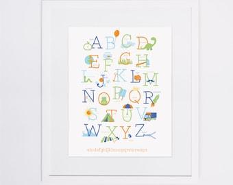 Alphabet Print | Blue, Green & Orange