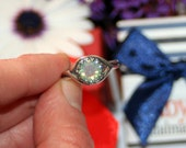 Swarovski Milky Way 8mm round crystal antiqued silver crown set Ring