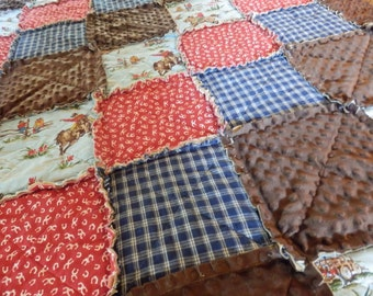 Western Rag Quilt, Country Bedding, Cowboy Blanket, Cowgirl Bedding, Horse Quilt in Lap Size with Minky, Handmade in NJ