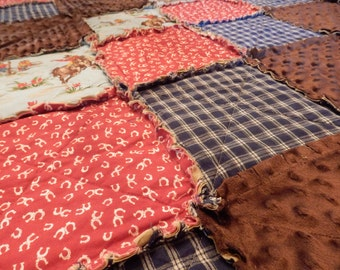 King Size Western Rag Quilt Country Cowboy or Cowgirl, Horse Bedding, Farmhouse Decor, Handmade in NJ