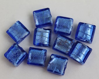 10 Pcs Blue Color Silver Foil Lampwork Glass Square Beads