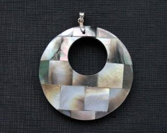 Large Round Shell Mosaic Black White Tile Pendant
