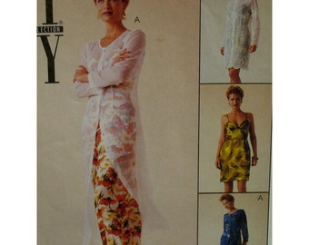 Slip Dress, Over Dress Pattern, Fitted Midriff, Bra Top, Straps, Long Sleeves, Button Front, NYCollection, McCalls No.9339 UNCUT Size 4 6 8