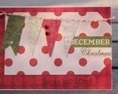 Christmas Banner Birthday Card, December Birthday Card, Christmas Birthday Card, Holiday Birthday Card