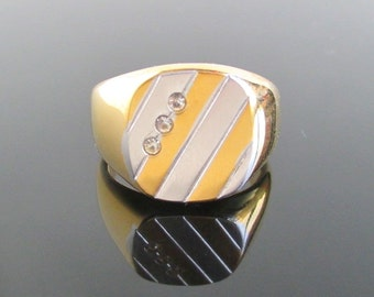 18KT HGE Mens Ring - Two Tone Face - Vintage, Unused
