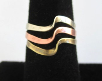 Copper, Brass, & Silver Ring - Vintage 3 Tone Ring w/ Wave Design