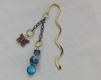 Bookmark, Gold, Beaded Bookmark, Butterfly, Mother of Pearl, Lapis Lazuli, Semi Precious, Accessories, Gift, Birthday, Teacher Gift, Blue