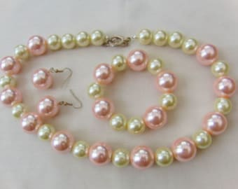 Jewellery Set Made With Large Pink and White Pearl Beads, Necklace, Bracelet, Earrings, Accessories, Gift, Birthday, Christmas, Anniversary