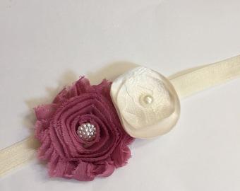 Dusty rose and ivory headband, girls mauve headband, girls rose headband, dusty rose and ivory wedding