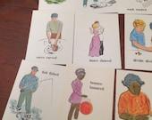 15 vintage flash cards past/present tense set #5