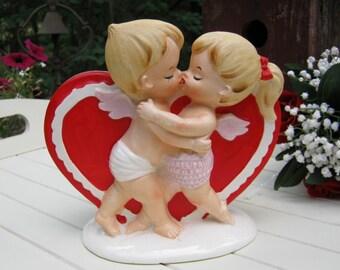 Lefton Kissing Angels Heart Planter - Made in Japan 2958 - Oak Hill Vintage