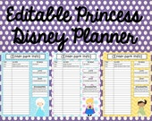 Instant Download Editable Disney Princess Planner, Agenda, Itinerary