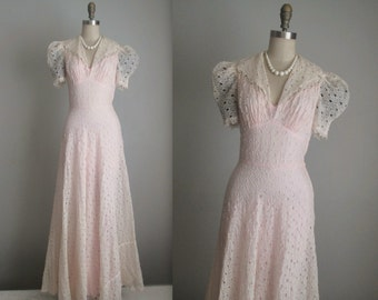 40's Eyelet Dress // Vintage 1940's Eyelet Organdy Full Length Wedding Day Dress Gown S