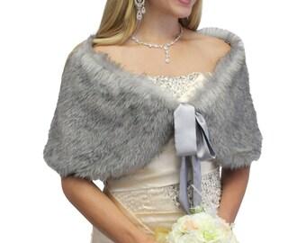 Bridal Shawl, bridal wrap, Grey Chinchilla Faux Fox Fur Bridal Shawl Fur Shrug, Fur Stole, Fur Wrap 504NR-GREYCHIN