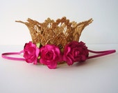 Small Gold Lace Crown - Hot Pink - Fuchsia Flowers - Newborn Gold Crown - Photo Prop - First Birthday Cake Smash - Baby Gold Crown - Silver