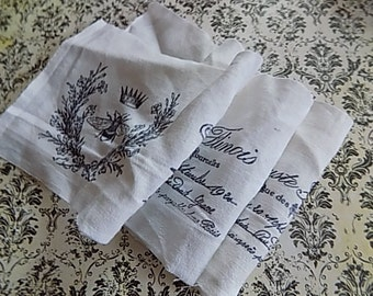 Antique Metis Fabric - Linen- From France! - Hand stamped - Bees Wreaths Script