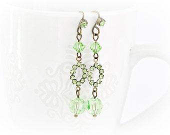 Peridot green Swarovski Vintage Style Earrings