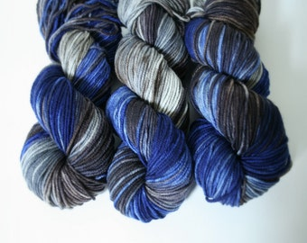 Hand dyed Yarn Superwash Merino Amanda Worsted Cobalt Swoon Fibers