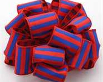 1.5 Inch Red Royal Blue Striped Ribbon 223995-1018, Wired Ribbon, College Wreath Ribbon