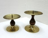 Vintage Brass And Wood Pillar Candle Holder Set Of 2