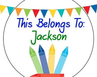 custom back to school stickers, personalized crayon back to school labels, crayon stickers, this belongs to stickers, 3 sizes available
