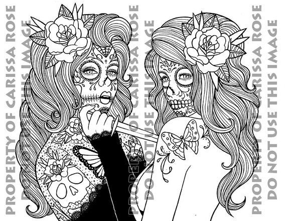 digital download print your own coloring book outline page betrayal by carissa rose day of the dead sugar skull girl tattoo flash design - Print Your Own Coloring Book