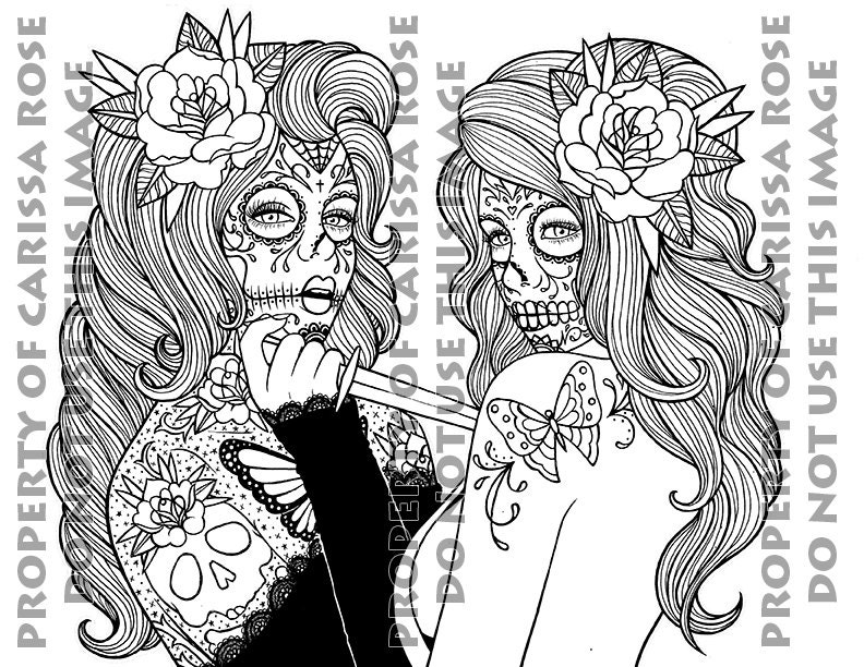 digital download print your own coloring book outline page betrayal by carissa rose day of the dead sugar skull girl tattoo flash design - Sugar Skull Tattoo Coloring Pages
