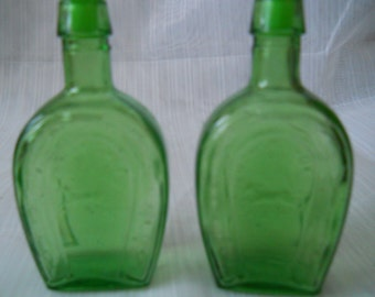 Green Bottle Salt and Pepper Shakers - Vintage, collectible, glass