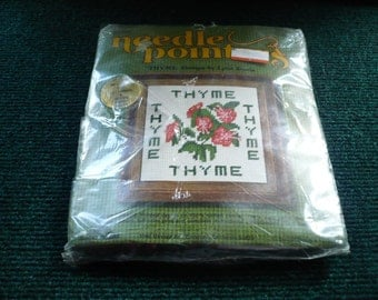 1/2 Price - Needle Pointers - Thyme - Needlepoint Kit Complete - 5 x 5 - 1975   Printed Canvas - Read Description