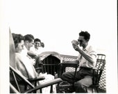 Vintage Photo, Card Players on a Ferry Boat Deck, Black & White Photo, Snapshot, Found Photo, Vernacular Photo, Travel Photo