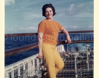 Digital Download, Vintage Photo, Woman on Boat, Printable, Blue Water, Color Photo, Found Photo, Snapshot, Old Photo   AUGUSTINE0629
