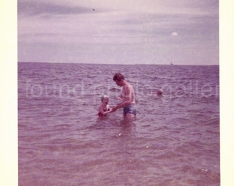 Vintage Photo, Father & Daughter Playing in Ocean, Color Photo, Snapshot, Family Photo, Blue Ocean, Blue Sky, Found Photo