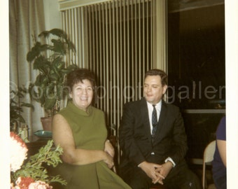 Vintage Photo, Couple  at Party Sitting in Living Room, 1960's Fashion, Color Photo, Snapshot, Old Photo, Vernacular Photo, Found Photo