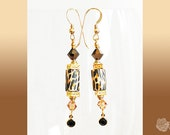 Hook Dangle Earrings Leopard Polymer Tubes TierraCast Gold Pewter Squares Swarovski Smoky Quartz and Topaz and Jet Crystals 14K Gold-Filled