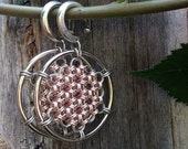 Rose Gold Colored Honeycomb Open Hoops - Earrings for Stretched Lobes - Chainmaille - Gauges