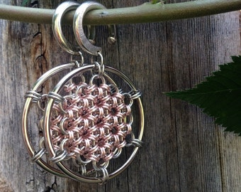 Rose Gold Colored Honeycomb Open Hoops - Earrings for Stretched Lobes - Chainmaille - Gauges - Ear Weights