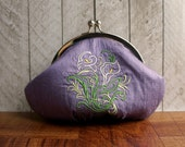 Clearance. Embroidered wristlet, flower purse, purple bag, ivory calla lily, personalized stamped charm, Lavender purple silk clutch