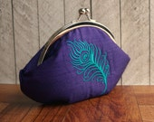 Purple silk clutch wristlet, personalized clutch, framed purple clutch with embroidered turquoise peacock feather,