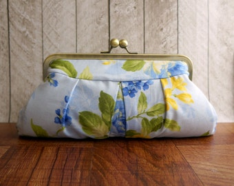 Framed pleated clutch, Blue clutch, blue and yellow floral purse