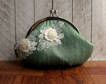 Fern green clutch, small clutch purse wristlet, sage green silk clutch with ivory lace flower, personalized clutch, wrist strap