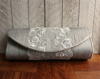 Clearance. Silver gray clutch, silk clutch purse, lace clutch bag, white embroidered flowers, silver clutch