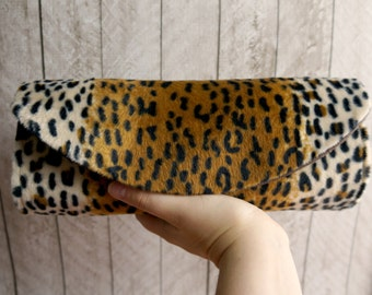 Leopard clutch bag. Animal print clutch purse. Leopard purse,